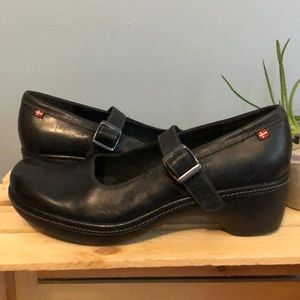 Black Leather with Strap ECCO Woman's Clog